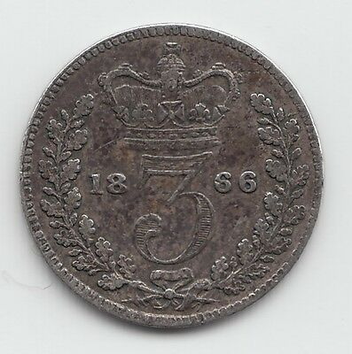 1866 Silver Threepence 3d - Victoria.