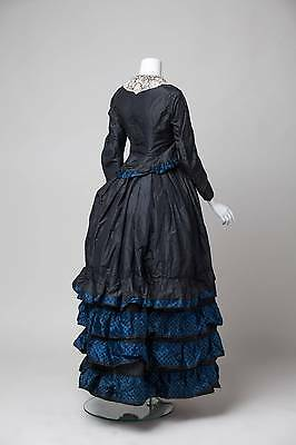 ANTIQUE VICTORIAN 1870s SKIRT AND BODICE BLACK WITH BLUE DETAIL