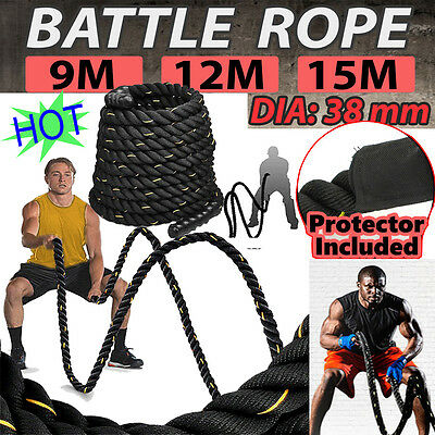 9/12/15M Exercise 38MM Fitness Training Gym Battle Power Rope Sport Bootcamp UK