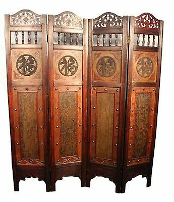 Vintage Oriental Style 4 Panels Screen Room Divider