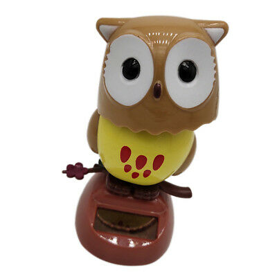 Brown Solar Powered Flip Flap Bobble Head Owl Dancing Toy Home Room Decor