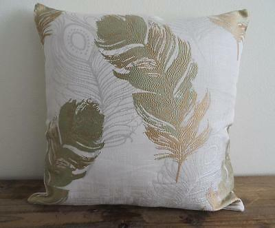 Scandi Green & Gold-Beige Peacock Feather Brocade Look Cushion Cover 45cm