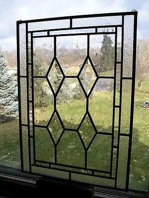 Vintage Clear Beveled Diamond Stained Glass Window