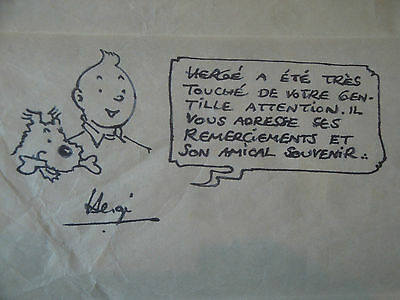 Genuine Note signed by Herge with Tintin & Snowy illustration