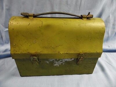 VINTAGE GREEN METAL DOME WORK LUNCH BOX / PAIL w/ LEATHER HANDLE