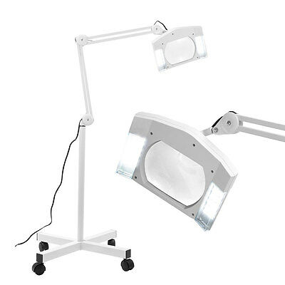 Rolling Base Magnifying Lamp w/ Wheels Light Stand Facial White