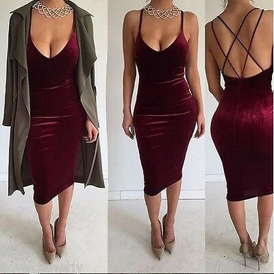 New Women Bodycon V Neck Sleeveless Backless Velvet Party Evening Cocktail Dress