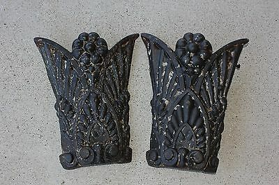 2 Antique Ornate Embossed Cast Iron Architectural Plates Salvage Panels 15x12.5