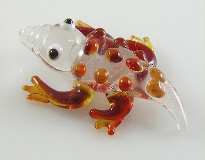 Gecko Salamander Miniature Glass Figurine Clear & D.Brown approx 1.5 inches long