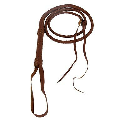6 foot Real Tan Brown Quality Leather Riding Bull Whip 6ft Cow Stock Livestock