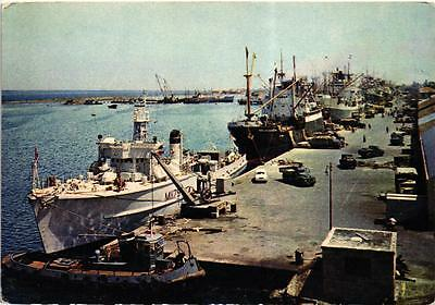 The Famagusta Harbour Cyprus Ships Truck Car Old Postcard