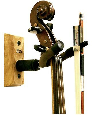 Violin Viola Wood Wall Mount Hanger String Swing *new* Cc01V