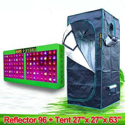 Mars Reflector 96 LED Grow Light Panel+27''×27''×63'' Indoor Grow Tent Room Box