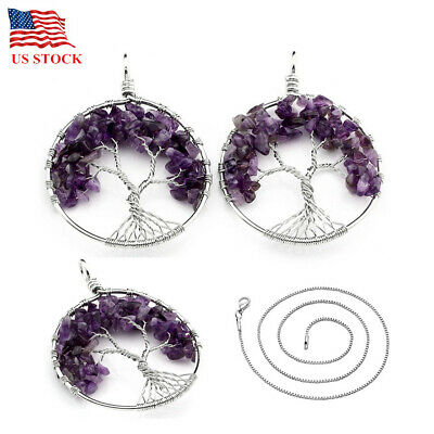 Amethyst Tree of Life Gems Handmade Wire Wrap Bead Pendant Jewerly Necklace Gift