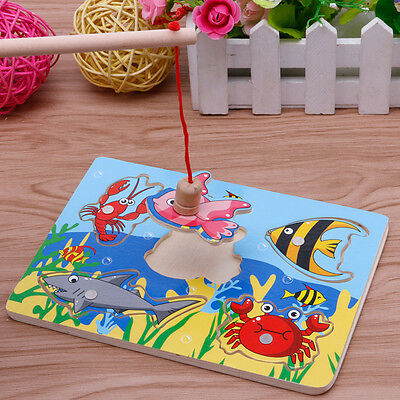 Baby Kids Magnetic Fishing Game + 3D Jigsaw Puzzle Board Wooden Educational Gift