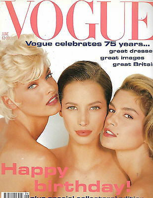 UK Vintage Vogue Magazine June 1991 75 Year Supplement is included SUPERMODELS