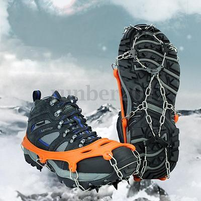 8 Teeth Anti-slip Ice Gripper For Shoe Boot Spike Safety Walking Crampons Orange