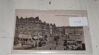 Old postcard our ref#11116 LONG ROW (MARKET DAY) NOTTINGHAM