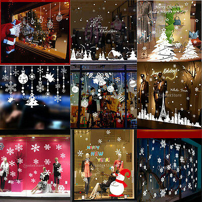 Christmas Tree Snowflake Window Stickers Wall Self Clings Xmas Decorations Decal