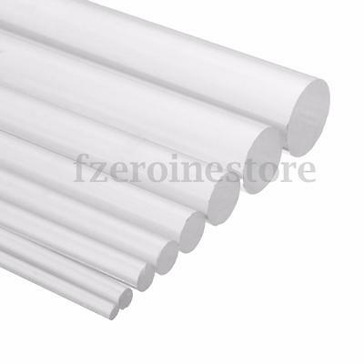 Round Clear Acrylic Rod Tube 2mm - 12mm Dia Perspex Solid Bar 100mm - 500mm Long