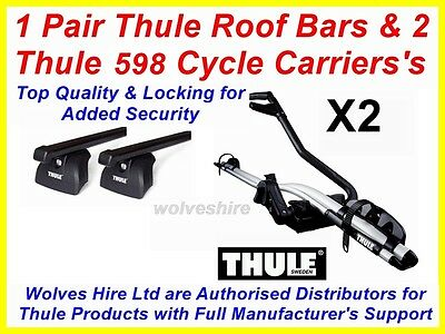1 Pair Thule Roof Bars & 2 Thule 598 Cycle Carrier's Fit Audi A6 Estate 05-16