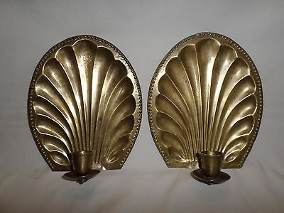 Vintage Pair Brass Scalloped Sea Shell Clam Art Deco Wall Sconce Candle Holder