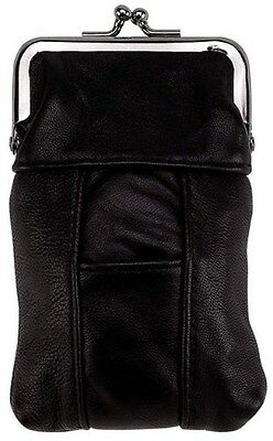 Cigarette Leather Case [Black] w/ Lighter Pouch & Clip Top Regular and 100's