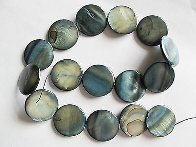 Mother of pearl shell MOP grey 25mm flat round coin beads 15""