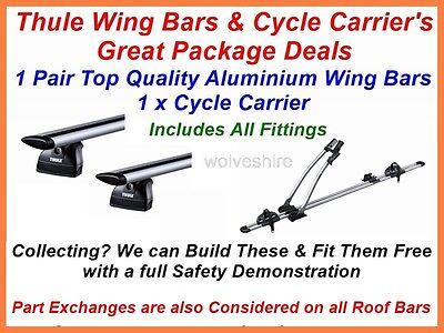 1 Pair Thule Wing Bars & 1 Thule 532 Cycle Carrier Fit Bmw 3 Series Estate 2010>
