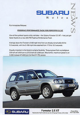Subaru Forester 2.5 XT Prodrive Performance Pack Press Release/Photo - 2005