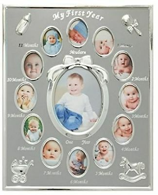 Tiny Ideas Baby's First Year Picture Frame Silver Unisex