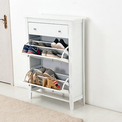 Shoe Storage Wood Cabinet Cupboard Rack Deluxe with Storage Drawer in White