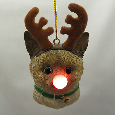 Siamese Cat Reindeer Christmas Tree Ornament Blinking Red Nose Antlers New Gift