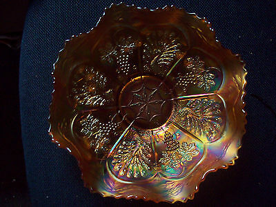 Vintage Peacock & Grapes inside pattern with another outside Carnival Glass bowl