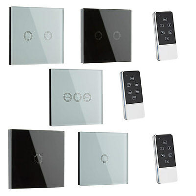 1 or 2 Way Glass LED Touch Light Gang Switch Timer Remote Control Black or White