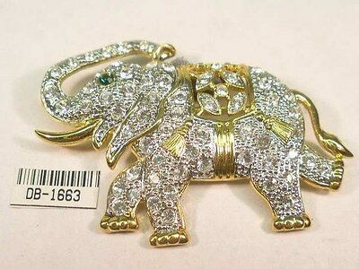 Designer nickel free ELEPHANT pin brooch  covered with Swarovski crystals 1663