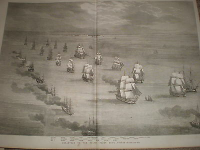 Crimea war departure of baltic fleet british navy from Spithead 1855 old print