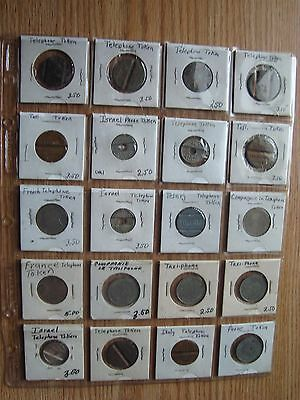 Vintage Lot Of 20 Different International Telephone Tokens