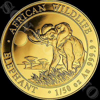 2016 SOMALIA GOLD ELEPHANT - 1/50 oz 24k Coin in Capsule African Wildlife .9999