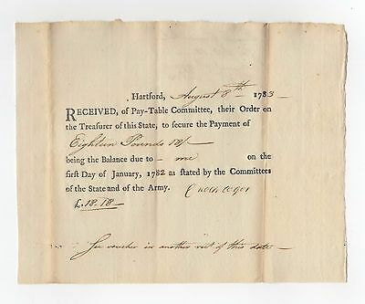 """1783 Revolutionary War """"Committees of the State and of the Army"""""""
