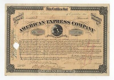 William G. Fargo - American Express Co Stock Certificate