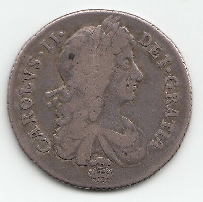 VERY RARE 1671 CHARLES II SHILLING 1/- Plume Below Bust & in Centre of Reverse