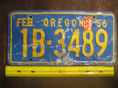 License Plate, Oregon, 1956, 1965 sticker, 1B - 3489