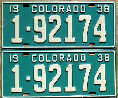 1938 Colorado License Plate Number Tag PAIR Plates