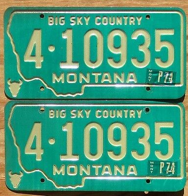 1974 Montana License Plate Number Tag PAIR Plates