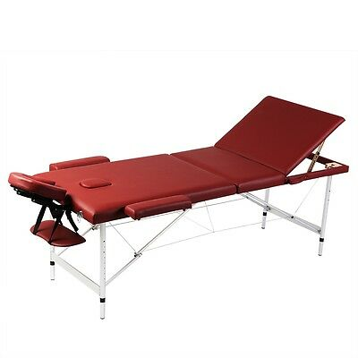Aluminium Portable Massage Table 3 Fold Beauty Therapy Bed Waxing 68cm Red