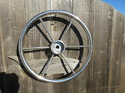 AUTHENTIC 16 inch STAINLESS STEEL BOAT SHIPS WHEEL SAILBOAT DECOR (#2063)