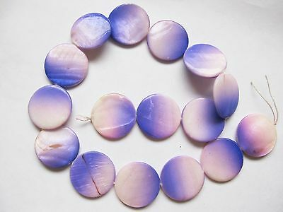 Mother of pearl MOP shell purple pink graduated 25mm flat round beads 15""