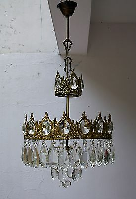 Antique Brass & Crystals Rare Chandelier from 1950's