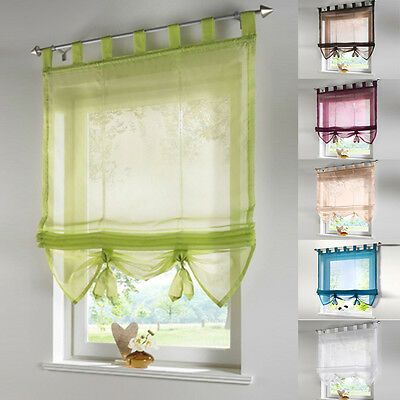 1PC Tab Top Kitchen Balcony Study Voile Roman Blinds Liftable Curtain New